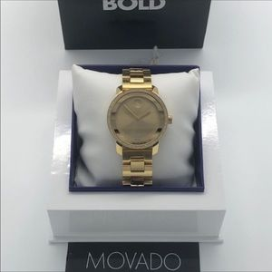 MOVADO WOMENS BOLD 36 MM ION GOLD PLATED